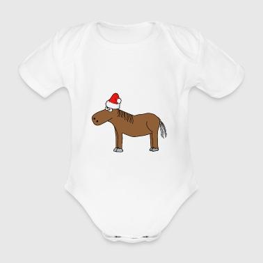 Weihnachten | Frohe Weihnachten Pferd Pony Reiten - Baby Bio-Kurzarm-Body