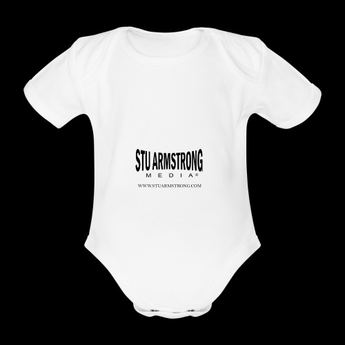Stu Armstrong Media Black Logo - Organic Short-sleeved Baby Bodysuit