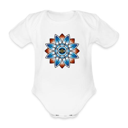Psychedelisches Mandala mit Auge - Baby Bio-Kurzarm-Body