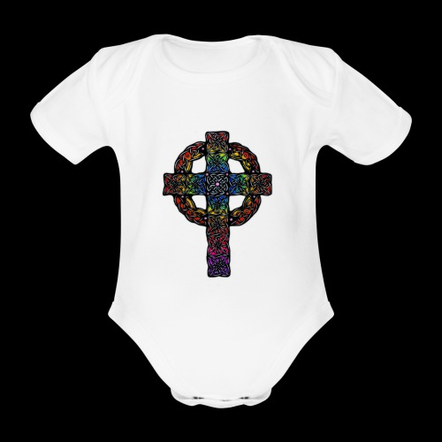Celtic Cross - rainbow - Organic Short-sleeved Baby Bodysuit