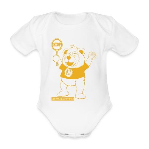 FUPO der Bär. Druckfarbe Orange - Baby Bio-Kurzarm-Body