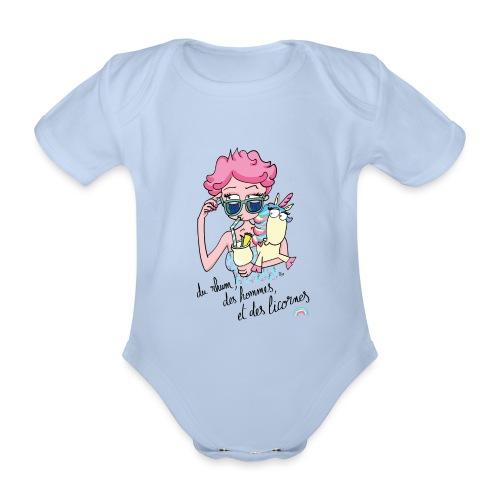 Rhum, hommes & licornes - Body Bébé bio manches courtes