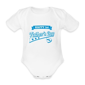 Happy 1st Father's Day - Organic Short-sleeved Baby Bodysuit