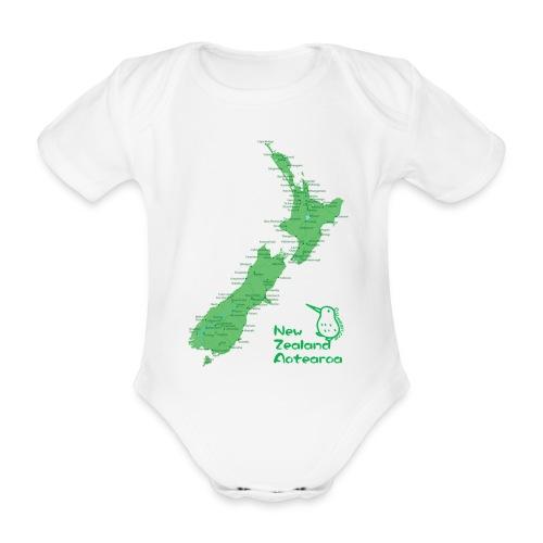 New Zealand's Map - Organic Short-sleeved Baby Bodysuit