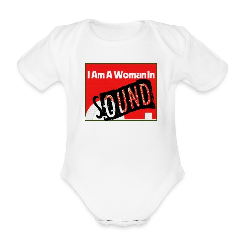 I am a woman in sound - red - Organic Short-sleeved Baby Bodysuit
