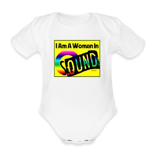 I am a woman in sound - rainbow - Organic Short-sleeved Baby Bodysuit