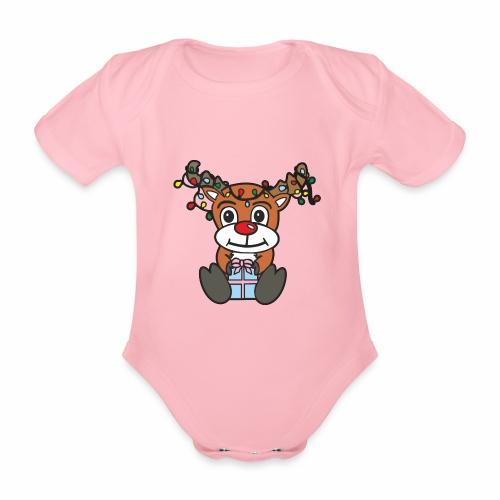 Rentier mit Lichterkette - Baby Bio-Kurzarm-Body