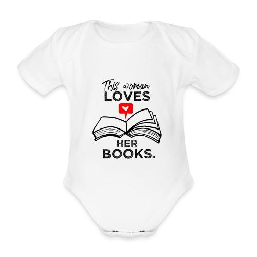 0217 Diese Frau liebt ihre Bücher | Leserin - Organic Short-sleeved Baby Bodysuit