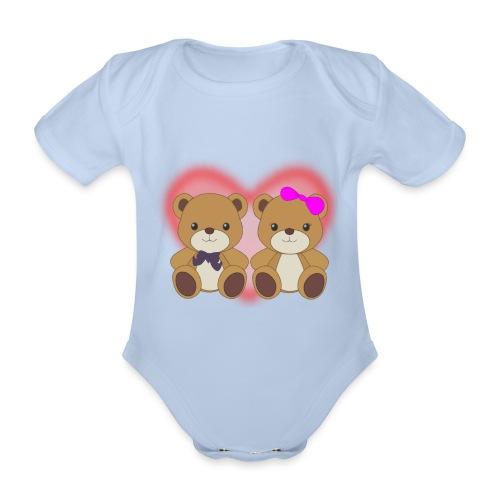 Orsetti con cuore - Body ecologico per neonato a manica corta