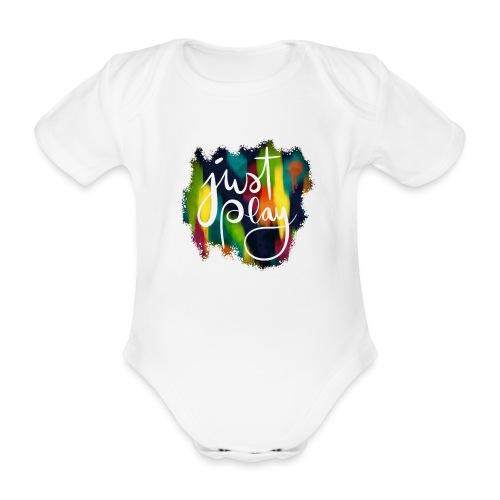 Just Play Lettering auf Farbklecksen - Baby Bio-Kurzarm-Body