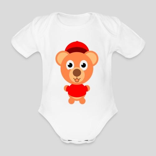 Teddy mit rotem Shirt - Baby Bio-Kurzarm-Body