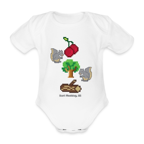 8 Bit Style Cherry Tree Wood Graphic - Organic Short-sleeved Baby Bodysuit
