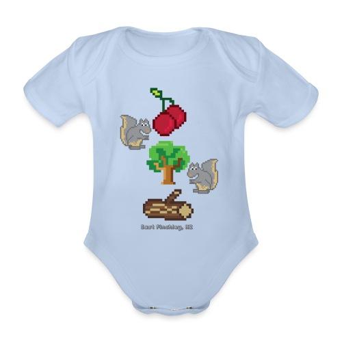 8 Bit Style Cherry Tree Wood Graphic - Organic Short-sleeved Baby Bodysuit