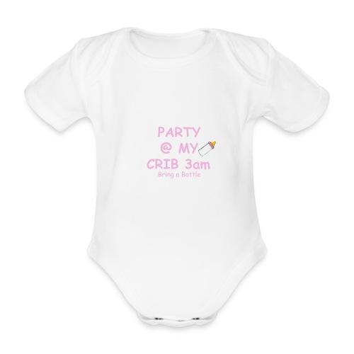 Baby Party @ crib vest - Organic Short-sleeved Baby Bodysuit