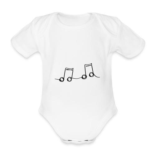 Muzikale bladmuziek muzieknoten patroon. Muziek - Baby bio-rompertje met korte mouwen