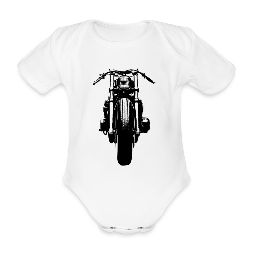 Motorcycle Front - Organic Short-sleeved Baby Bodysuit