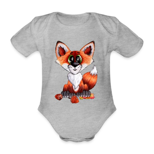 llwynogyn - a little red fox - Kortærmet babybody, økologisk bomuld