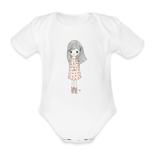 meisje met roze jurk - Baby bio-rompertje met korte mouwen