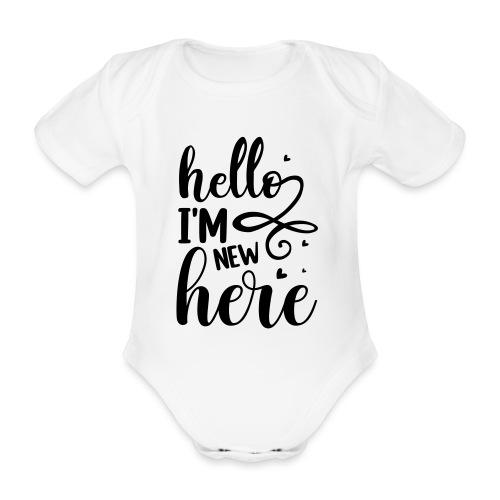 Hello I'm new here - Baby bio-rompertje met korte mouwen