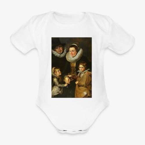 familie-engels2-canvas - Baby bio-rompertje met korte mouwen