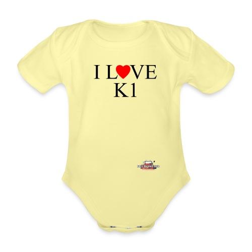 i love k1 nera - Body ecologico per neonato a manica corta