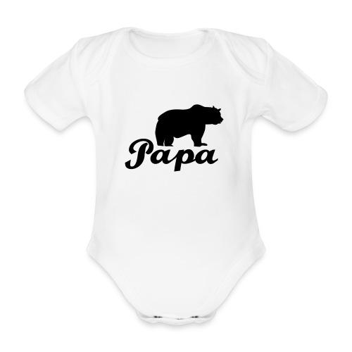 papa beer - Baby bio-rompertje met korte mouwen