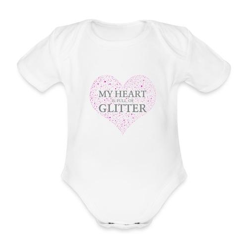 Glitzer Herz - Baby Bio-Kurzarm-Body
