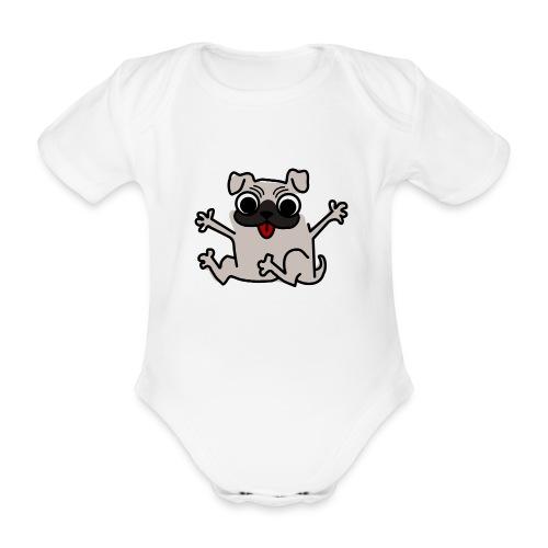 crazy pug - Baby Bio-Kurzarm-Body