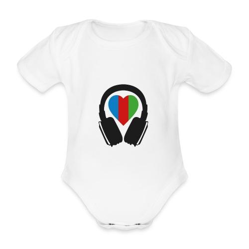 Silent Disco Headphone > Heart | black - Baby Bio-Kurzarm-Body