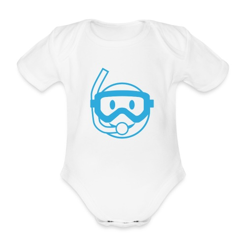 Happy Diver (Blue) - Baby Bio-Kurzarm-Body