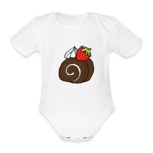 Biskuitrolle Schokolade mit Sahne und Erdbeere - Baby Bio-Kurzarm-Body