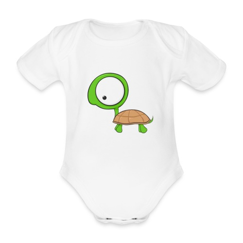 Cartoon Turtle - Body orgánico de manga corta para bebé