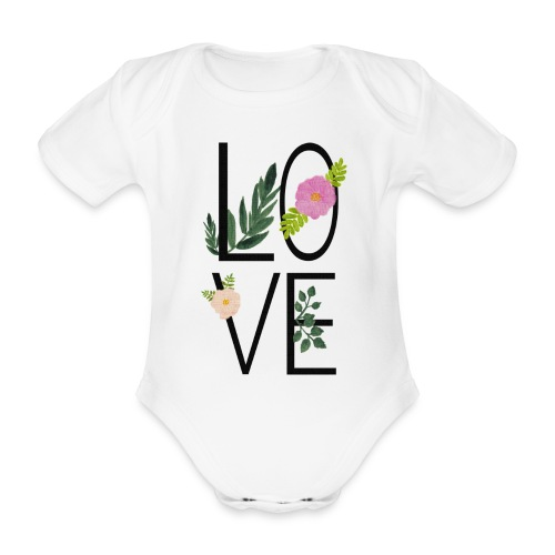 Love Sign with flowers - Organic Short-sleeved Baby Bodysuit