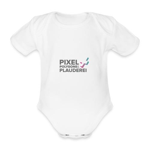 Pixel Polygone Plauderei Logo Grau - Baby Bio-Kurzarm-Body
