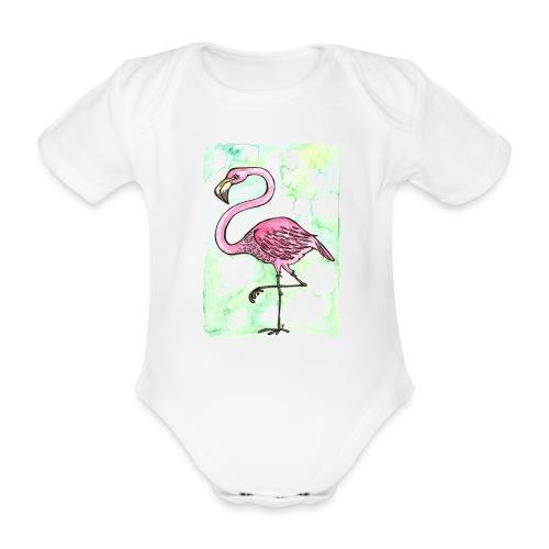 Flamingo - Kortærmet babybody, økologisk bomuld