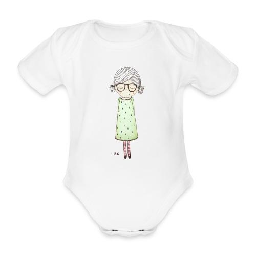 meisje met bril - Baby bio-rompertje met korte mouwen