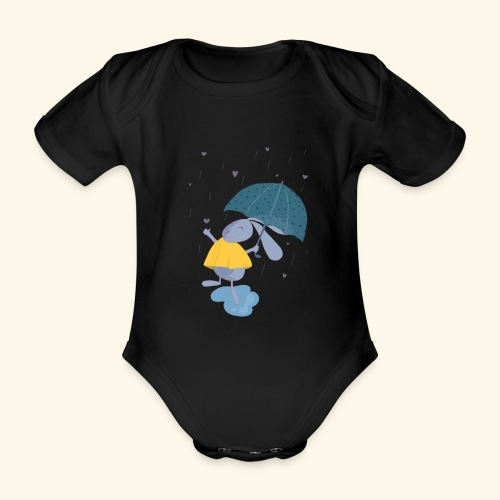 happy in the rain - Organic Short-sleeved Baby Bodysuit