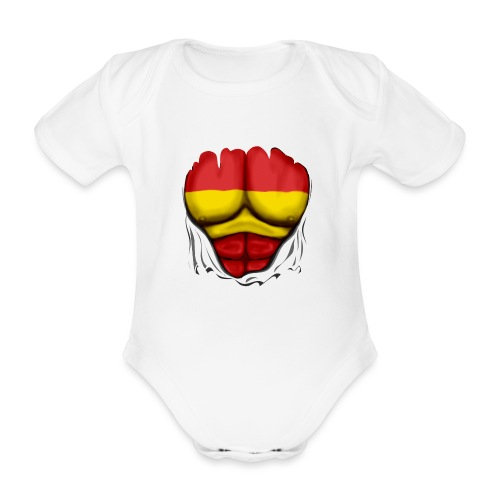 España Flag Ripped Muscles six pack chest t-shirt - Organic Short-sleeved Baby Bodysuit