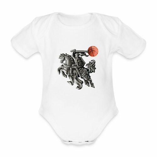 Lithuania basketball - Organic Short-sleeved Baby Bodysuit