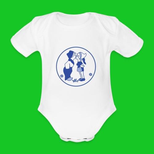Delfts blauw kussend sexy boerinnetje - Baby bio-rompertje met korte mouwen