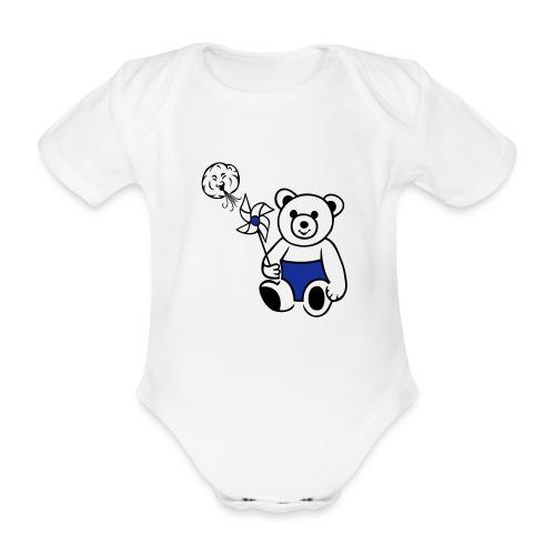 Teddybär mit Windmühle - Baby Bio-Kurzarm-Body