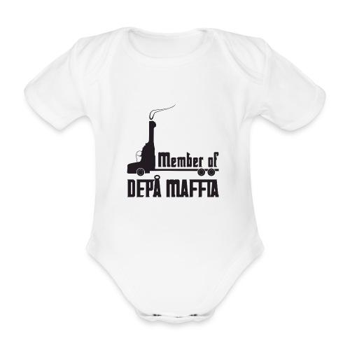 Depå Maffia svart tryck - Ekologisk kortärmad babybody
