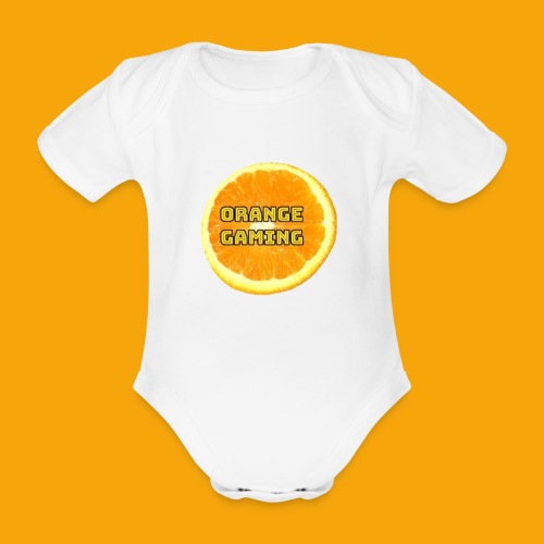 Orange_Logo_White - Organic Short-sleeved Baby Bodysuit