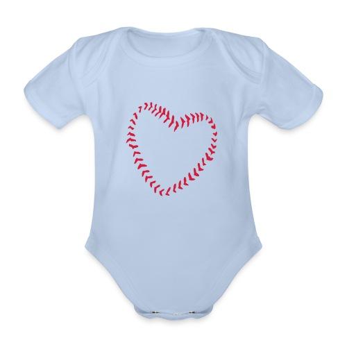 2581172 1029128891 Baseball Heart Of Seams - Organic Short-sleeved Baby Bodysuit
