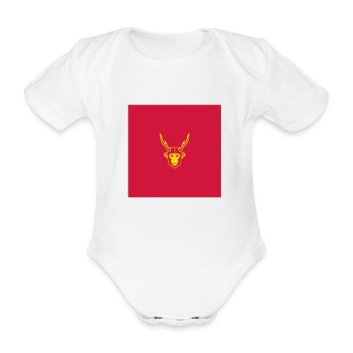 scimmiacervo sfondo rosso - Body ecologico per neonato a manica corta