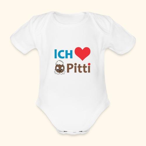 Pittiplatsch Ich liebe Pitti auf hell (blau/braun - Baby Bio-Kurzarm-Body