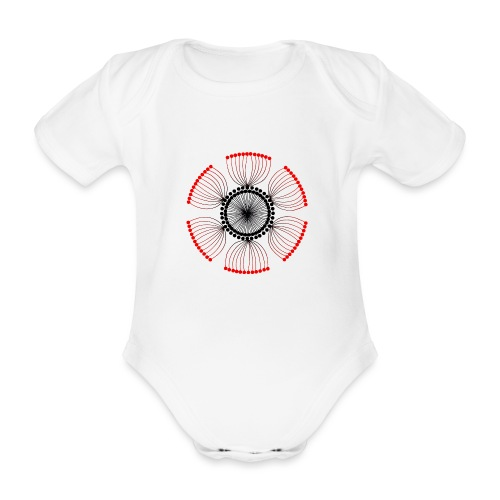 Red Poppy Seeds Mandala - Organic Short-sleeved Baby Bodysuit