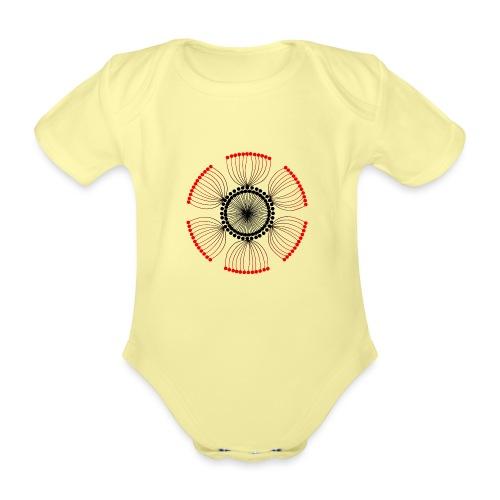 Red Poppy Seeds Mandala - Organic Short-sleeved Baby Bodysuit