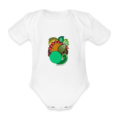 Coloured Leaf Mandala - Organic Short-sleeved Baby Bodysuit