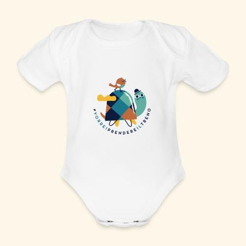 Tartaruga e uccellino - Body ecologico per neonato a manica corta